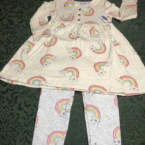 NWT Old navy rainbow winter dress leggings 3t 3